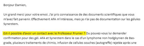 Est-il possible de contacter le professeur Prunier ?
